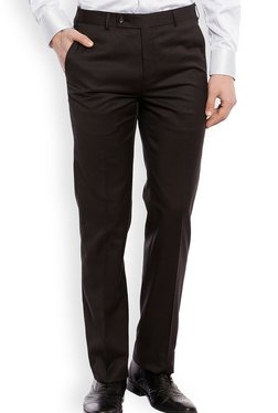Raymond Black Mid Rise Slim Fit Flat Front Trousers