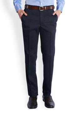 Park Avenue Navy Solid Slim Fit Flat Front Trousers