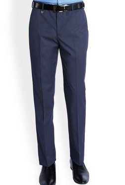 Park Avenue Blue Solid Slim Fit Flat Front Trousers