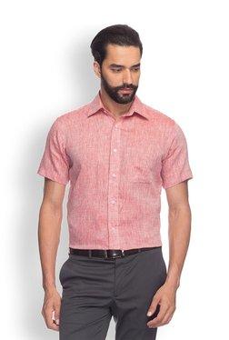 Raymond Red Striped Half Sleeves Shirt