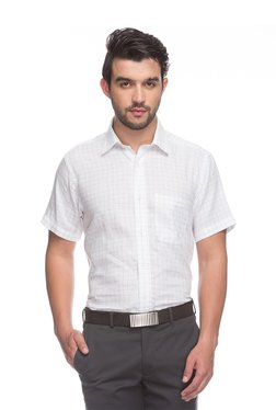 Raymond White Half Sleeves Checks Shirt
