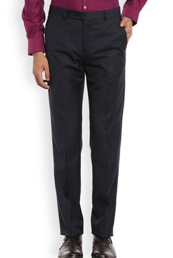 Raymond Navy Solid Slim Fit Trousers