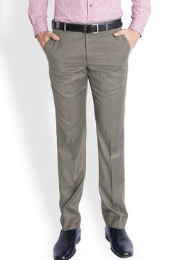 Park Avenue Grey Solid Slim Fit Trousers