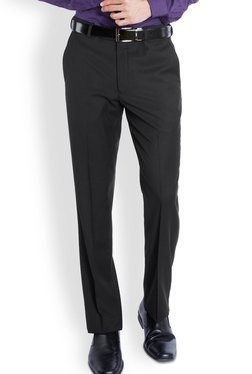 Park Avenue Black Solid Slim Fit Flat Front Trousers