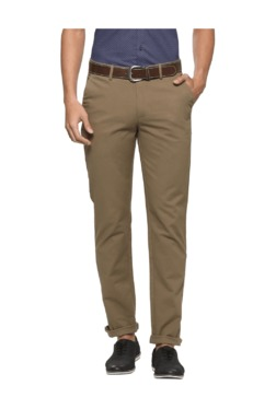 Peter England Khaki Slim Fit Flat Front Trousers