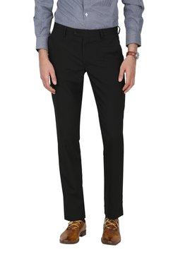 John Players Black Slim Fit Flat Front Trousers