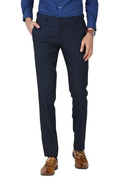 John Players Blue Slim Fit Flat Front Trousers