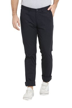 John Players Navy Mid Rise Cotton Chinos