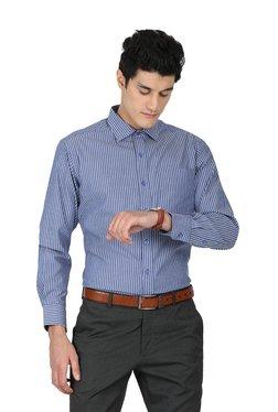 John Players Dark Blue Striped Full Sleeves Shirt