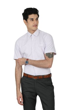 John Players White Regular Fit Half Sleeves Checks Shirt