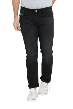 John Players Black Lightly Washed Slim Fit Jeans