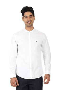 John Players White Full Sleeves Band Collar Slim Fit Shirt