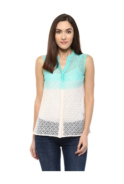 109 F Green & White Lace Top