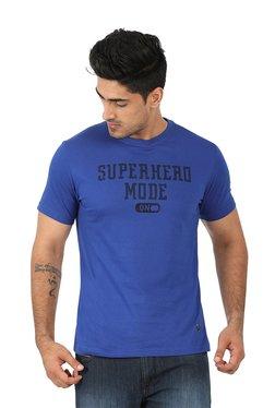 John Players Blue Printed Round Neck T-Shirt