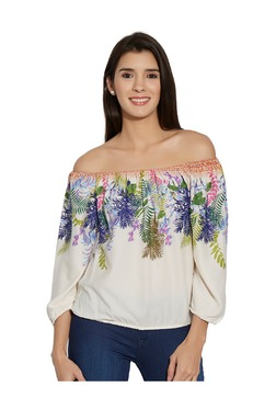 Fusion Beats Off White Printed Off Shoulder Top