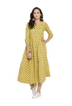 Varanga Yellow Floral Print Cotton Midi Dress