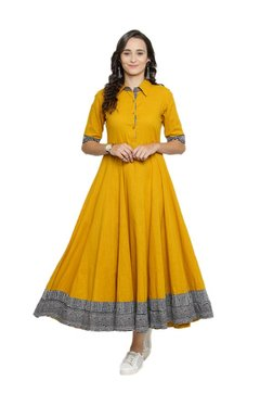 1f006cd1e038 Varanga Mustard Textured Maxi Dress
