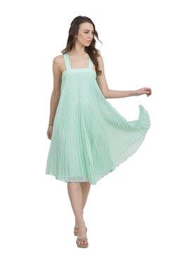 Label Ritu Kumar Mint Self Print Polyester Dress