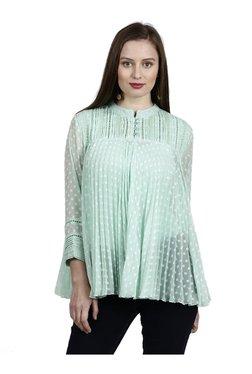 Label Ritu Kumar Mint Self Print Polyester Shirt
