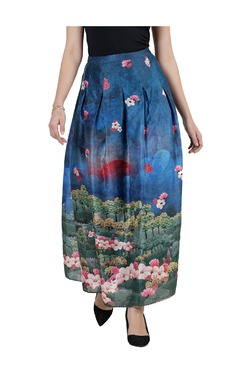 Label Ritu Kumar Blue Printed Maxi Skirt