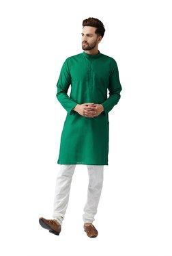 Sojanya Green & Off-White Full Sleeves Kurta Set