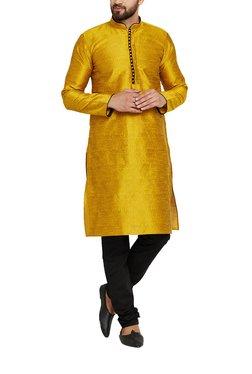 Sojanya Mustard & Black Mandarin Collar Kurta Set