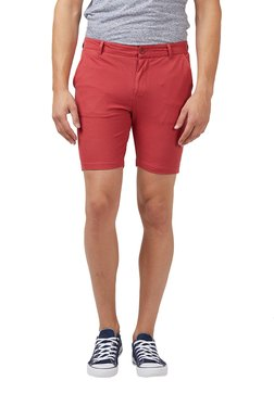 Easies By Killer Red Cotton Mid Rise Shorts