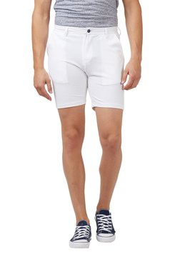 Easies White Cotton Mid Rise Shorts
