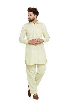 Sojanya Lime Green Full Sleeves Pathani Kurta Set