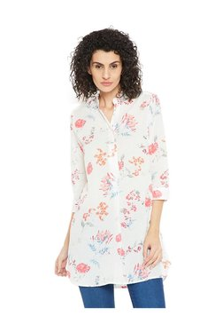 Cottonworld White Floral Print Top