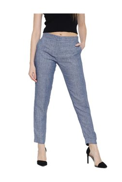 Cottonworld Blue Straight Fit Trousers