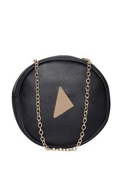 ToniQ Black Solid Sling Bag With Narrow Belt
