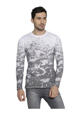 Campus Sutra White Abstract Print Cotton T-Shirt