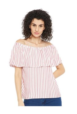 Cottonworld White & Red Striped Off Shoulder Top