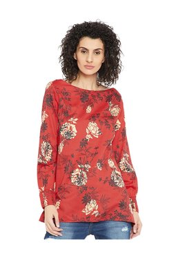 Cottonworld Red Floral Print Top