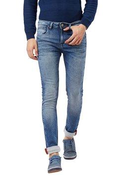 Killer Dark Blue Solid Mid Rise Slim Fit Jeans