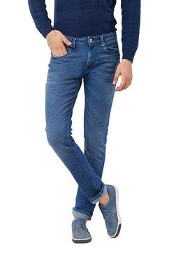 Killer Dark Blue Solid Mid Rise Slim Fit Cotton Jeans