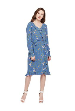 Tom Tailor Navy Printed Knee Length Dress