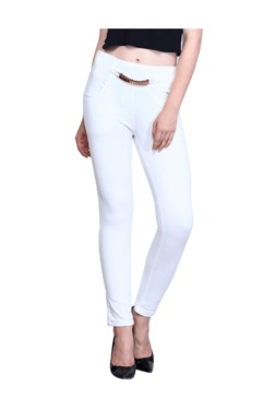 Westwood White Cotton Lycra Skinny Fit Jeggings - Mp000000003430827