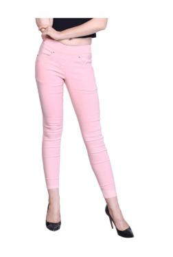 Westwood Pink Cotton Lycra Skinny Fit Jeggings