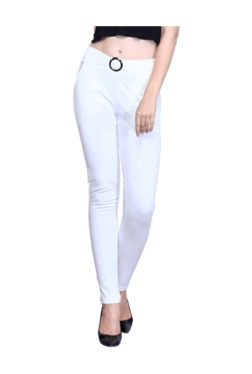 Westwood White Cotton Lycra Skinny Fit Jeggings