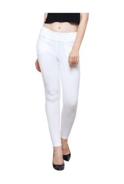 Westwood White Cotton Lycra Skinny Fit Jeggings - Mp000000003429454