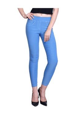Westwood Sky Blue Cotton Lycra Skinny Fit Jeggings