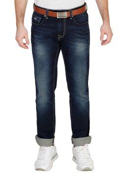 Lawman Dark Blue Lightly Washed Regular Fit Cotton Jeans