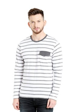 Cult Fiction White Striped Cotton T-Shirt