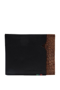 Peter England Black & Brown Textured Leather Bi-Fold Wallet