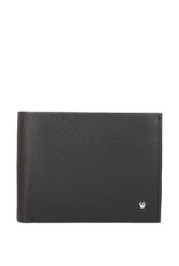 Louis Philippe Black Solid Leather Bi-Fold Wallet