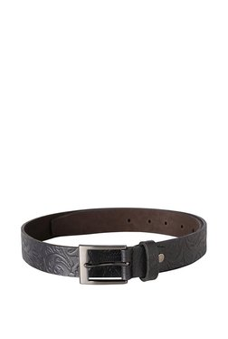 Allen Solly Black Embossed Leather Narrow Belt