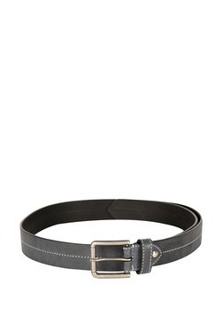Allen Solly Black Stitched Leather Narrow Belt
