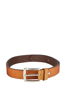 Peter England Tan Solid Leather Narrow Belt - Mp000000003433489
